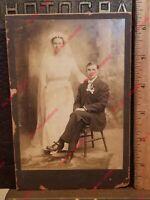 1800s Cabinet Card Photo Brenham TX FC Winkelmann Marriage Blue Eye Wife Husband