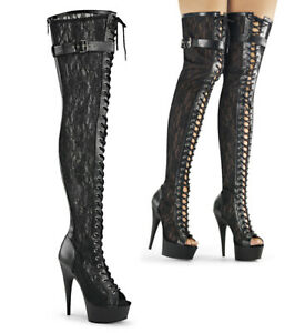 "PLEASER Delight-3025ML 6"" Heel Thigh-High Boots"