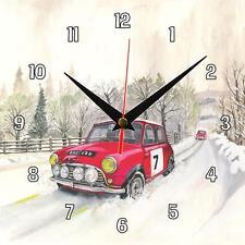No.42 Mini in Snow - Retro Sue Podbery Wall clock handmade car gift present