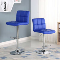New Set of 2 Bar Stools Leather Adjustable Swivel Pub Counter Height Chairs Blue