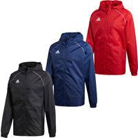 Adidas Mens Core Rain Jacket Sports Waterproof Football Hooded Windproof Coat