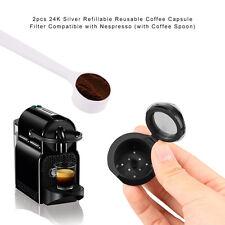 Refillable/ Reusable Nespresso Capsule set, Built In Stainless Ste Filter+Spoon