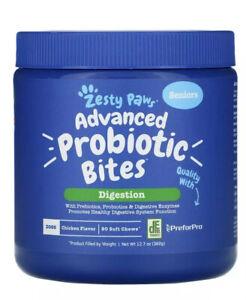 Zesty Paws Seniors Advanced Probiotic Bites Digestion 90 Soft Chews Exp 4/22