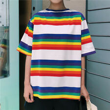 Women Rainbow Striped T-shirt Harajuku Summer Loose Casual Hippie Tops Blouse