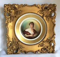 "Antique Portrait Plate Framed Rosenthal German Porcelain Plaque Lady 14"" 37cm"