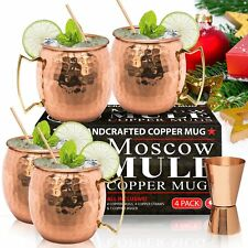 Set of 4 Moscow Mule 100% Solid Pure Copper 16 Oz Mug+4 Straws+Jigger+Recipes
