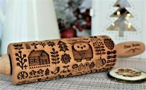 Owl Embossing Rolling Scandinavian Engraved Rolling Pin Gingerbread Carved Molds