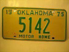MOTOR HOME TAG License Plate 1975 OKLAHOMA #5142 [Y59C6]