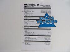 Yamaha Quick Reference Service Manual Spec Data Sheet XVS13 V-Star 1300 2007