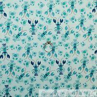 Blue Crab Crabs Small Sea Food Realistic Snacks Food Cotton Fabric BTHY