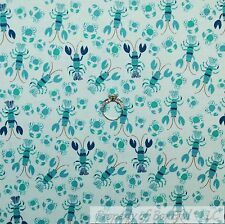 BonEful Fabric FQ Cotton Quilt Aqua Teal Blue Tone Small Beach Crab Lobster Baby