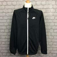 NIKE MENS BLACK POLY TRACK TOP WHITE FULL ZIP JACKET  RRP £60