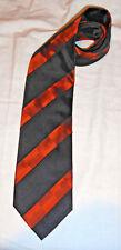 Cravate homme Seidensticker 100 % pure soie, silk tie, noir avec bandes orange