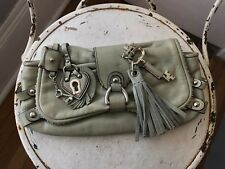Juicy Couture Light Blue Genuine Leather Silver Hardware Clutch with Charms