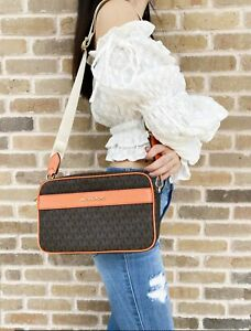 Michael Kors Jet Set Kenly Large Pocket Crossbody Brown MK Signature Tangerine