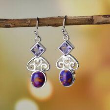Vintage 925 Sliver Oval Purple Turquoise Women Drop Dangle Hooks Earrings