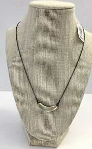NWT ALEXIS BITTAR Lucite Small Crescent Pendant Necklace Opaque Gray Gunmetal