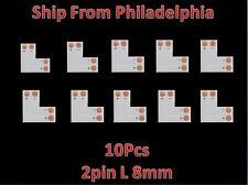 10pcs 3528 8mm  L  Shape 2pin Adapters LED Strip Connectors No soldering