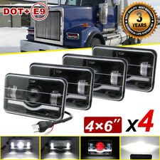 "4pcs 4X6""  LED Headlights hi-lo beam DRL H4656 H4651 For Western Star 4900 Semi"