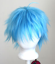11'' Short Messy Spiky Sky Blue Synthetic Cosplay Kuroko Wig NEW