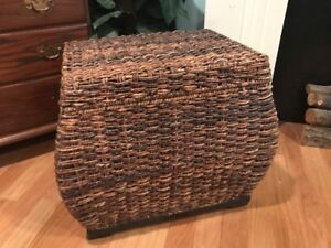 Vintage Woven Wicker Ottoman Footstool Side Table Sitting Decorative Chair