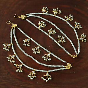UK Indian Bollywood Ethnic Sahara Chain Support Chain Heaving Earring Set Jewelr