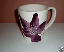 "Laurie Gates ""Anna"" Ceramic Coffee Mug-Slightly Fluted-Purple Flower (Orchid?)"