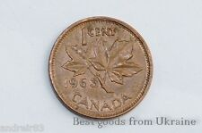 1 cent Canadian coin 1963 Canada money