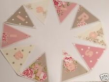 PERSONALISED BUNTING Vintage Floral Shabby Chic Style FABRIC £2.50 per flag