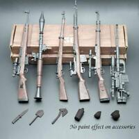 "1/6 Scale 6pcs 4D Rifle Assembly Weapon Model Set Gun Toy Figure Body 12"" C6G9"