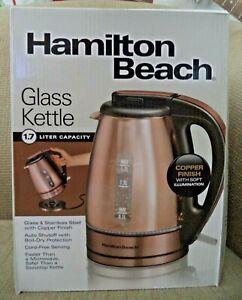 Hamilton Beach Electric Glass Kettle 1.7L Copper Finish 40866 New cord free *nu*