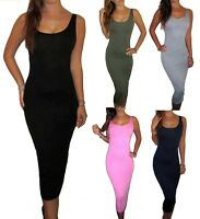 Womens Ladies Long Jersey Midi Maxi Summer Dress Black Size UK 8 10 12 14 16 18
