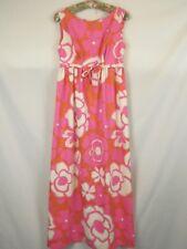 1970s Flower Power Honolulu Hawaii Hawaiian Mod Maxi Dress Pink Orange White