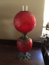 Antique Oil>Elect Convert Dark Red Sunflower Art Glass Gone with the Wind Lamp
