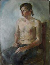 Russian Ukrainian Oil Painting male figure Portrait nude boy impressionism