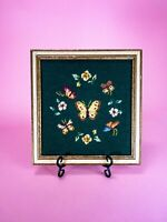 Vintage Framed Butterfly Fiber Art