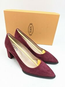 NEW Tod's Gomma Cuoio Decollete Red Suede Point Toe Pumps Heels Sz 36.5 EU 6 US