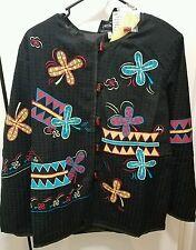 Indigo Moon NWT Black w/Embroidered Applique Embellished Handmade Lined Jacket L