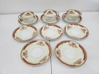 Lot of 11 pcs Noritake REDLACE Red with Gold Trim Floral Cups & Saucers - Japan