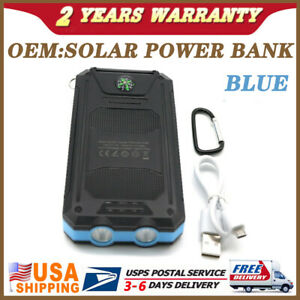 2000000mAh New Solar Power Bank BLUE Universal Battery Charger for Cell Phone