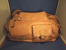 Maxx New York Pebbled Purse Brown Tan Leather, Pockets & Paisley Inside Print