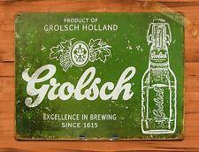 "TIN-UPS TIN SIGN ""Grolsch Beer"" Vintage Ad Retro Garage Bar Beer Alcohol"