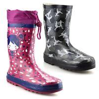 Girls Boys Kids Waterproof Wellies Winter Rain Snow Wellingtons Boots Shoes Size