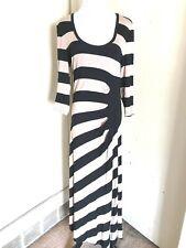 Calvin Klein Women's Maxi Dress Size 8 BEIGE/ Black Striped Pocket 3/4 Sleeve
