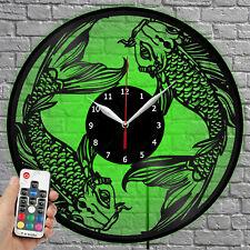 LED Clock Fish Vinyl Record Wall Clock Led Light Wall Clock 1645