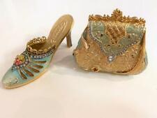 Miniature Shoe & Purse Nobility Enamel Crystal Trinket Box Vtg Set 2 Metal EXC