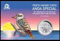 Perth Mint Kookaburra Privy Square Penny Anda 2019 im Blister 1 oz 999 Silber