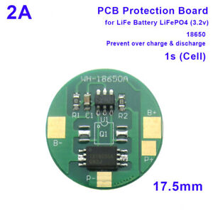 PCB BMS Protection Board LiFe LiFePO4 18650 Battery Cell Pack 2A 3.2V 1S PCM