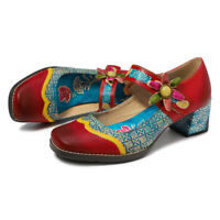 Sofia Women Retro Genuine Leather Flower Comfy Pumps Loafers Bohemia Casual Shoe