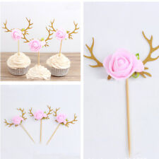 1Pc Flower Antler Cupcake Picks Cakes Toppers Decor Kids Birthday Party Favors